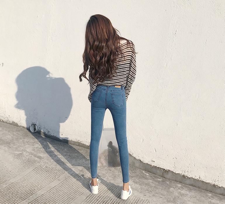 紧身小脚牛仔裤女秋季显瘦九分裤修身铅笔裤潮