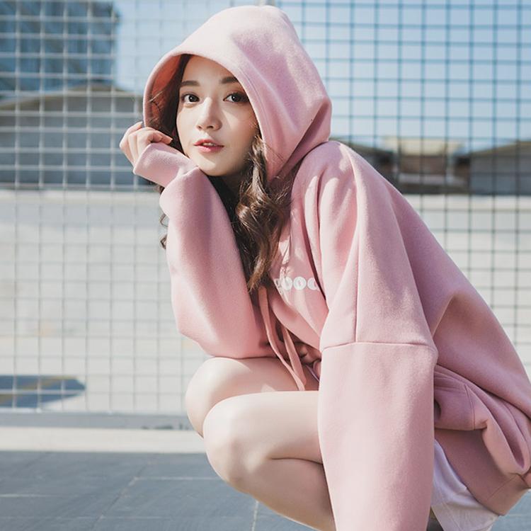 2018新款女装早秋粉色卫衣