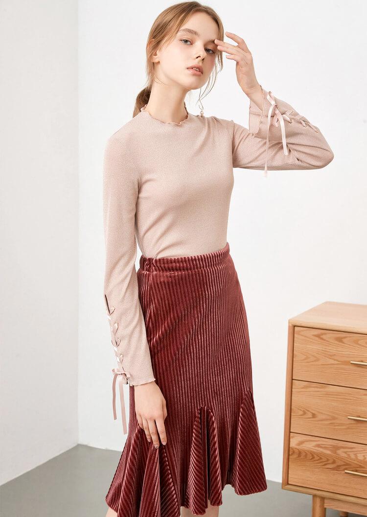 红袖女装新款修身长袖纯色绑带T恤针织衫