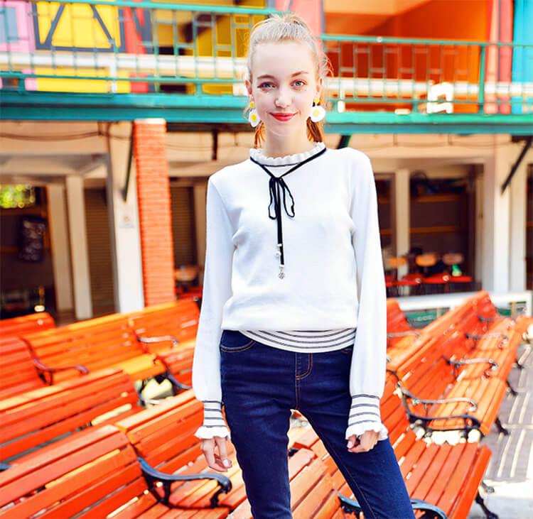 木耳边领长袖上衣女白色甜美打底衫针织衫新款秋季学院风毛衣