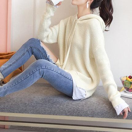 短款秋装套头毛衣女2018春装新款宽松学生韩版粗毛线假两件针织衫