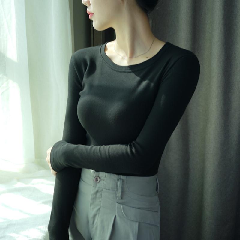 2018秋冬季长袖T恤女打底衫上衣服圆领修身纯黑色棉新款韩版学生  女装  图1