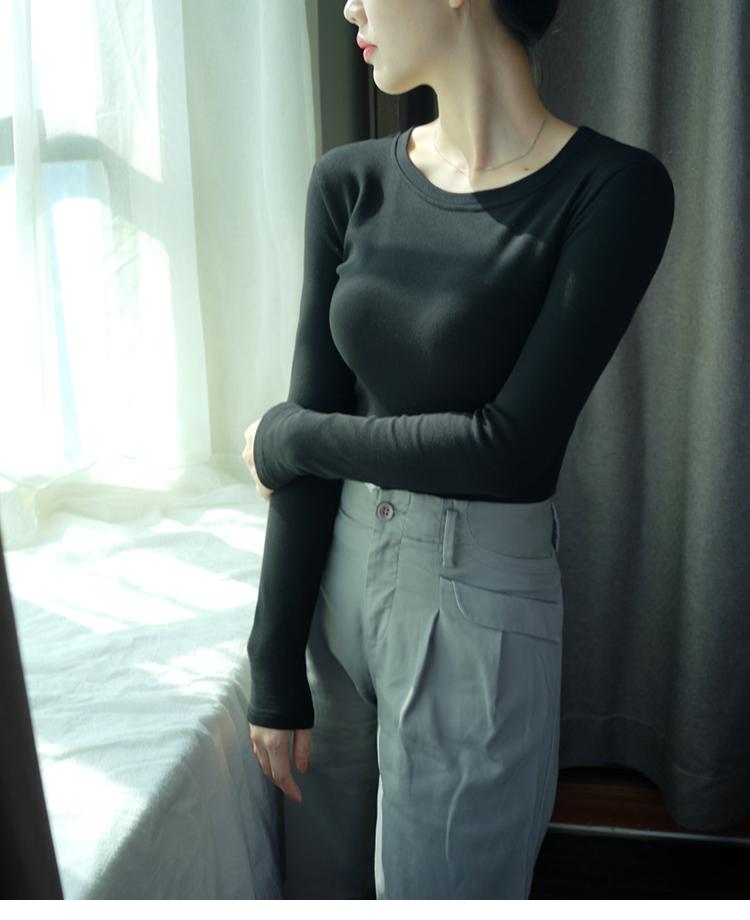 2018秋冬季长袖T恤女打底衫上衣服圆领修身纯黑色棉新款韩版学生  女装  图5