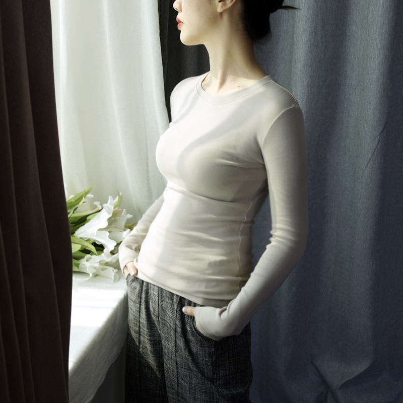2018秋冬季长袖T恤女打底衫上衣服圆领修身纯黑色棉新款韩版学生  女装  图2